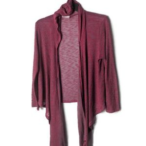 Sweaters - Red Hooded Open Front Draped Cardigan